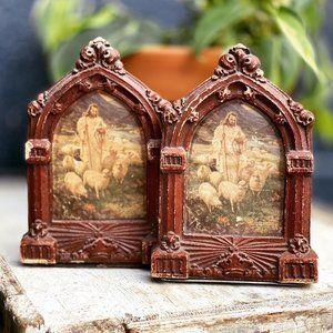 Vintage Jesus Religious Chalkware Bookends
